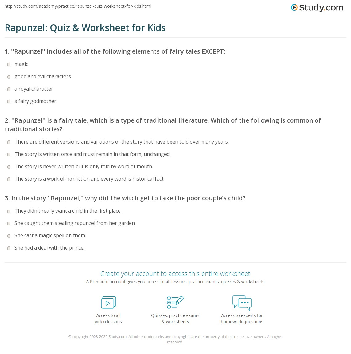 Rapunzel Quiz Amp Worksheet For Kids