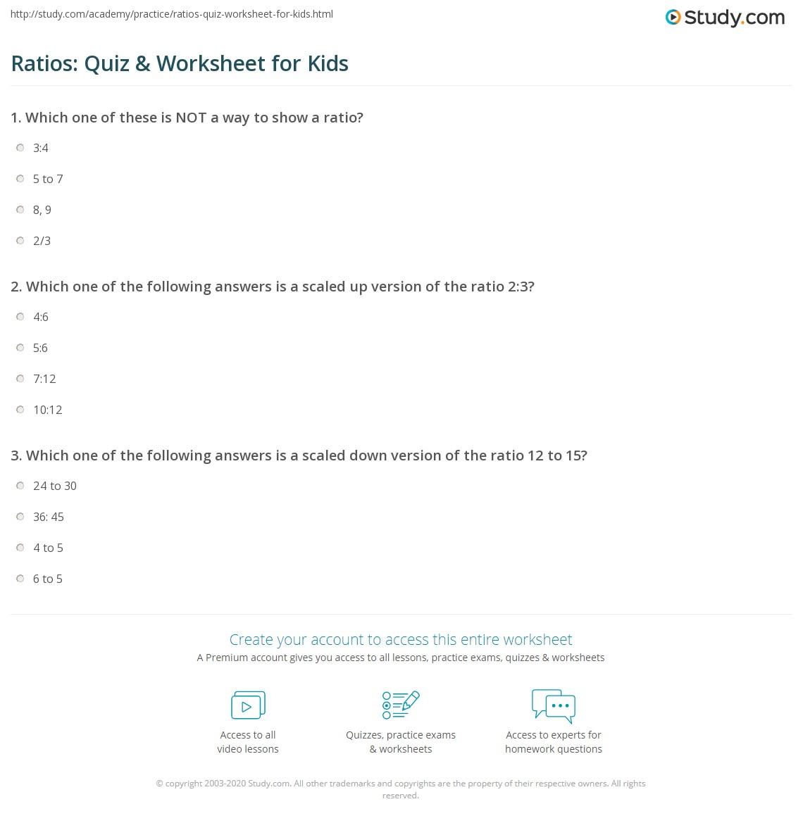 Ratios Quiz Amp Worksheet For Kids