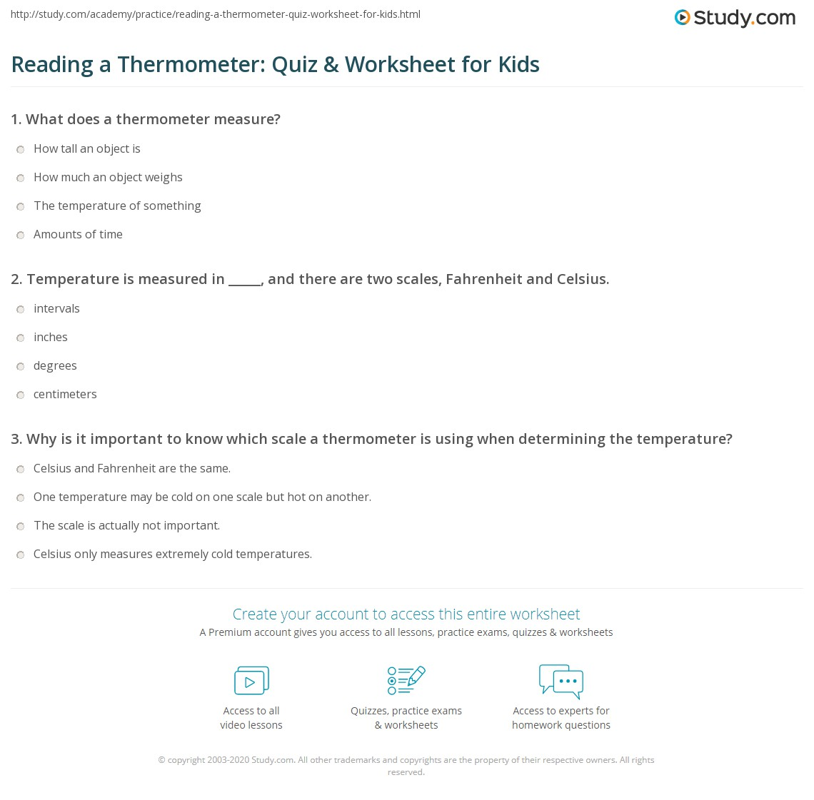Thermometer Worksheet To Print