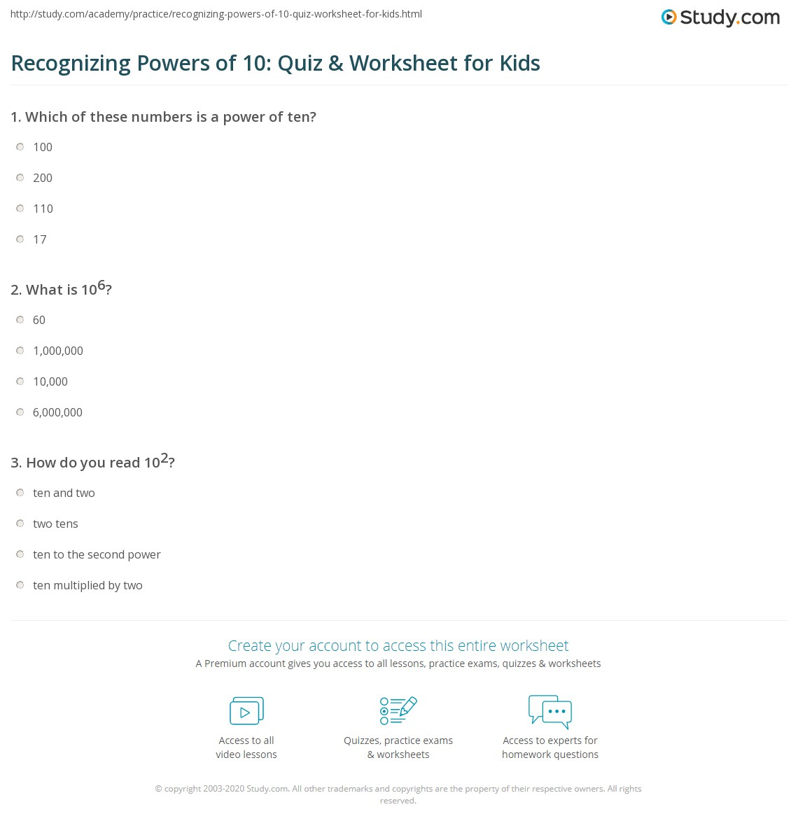 Recognizing Powers Of 10 Quiz Amp Worksheet For Kids