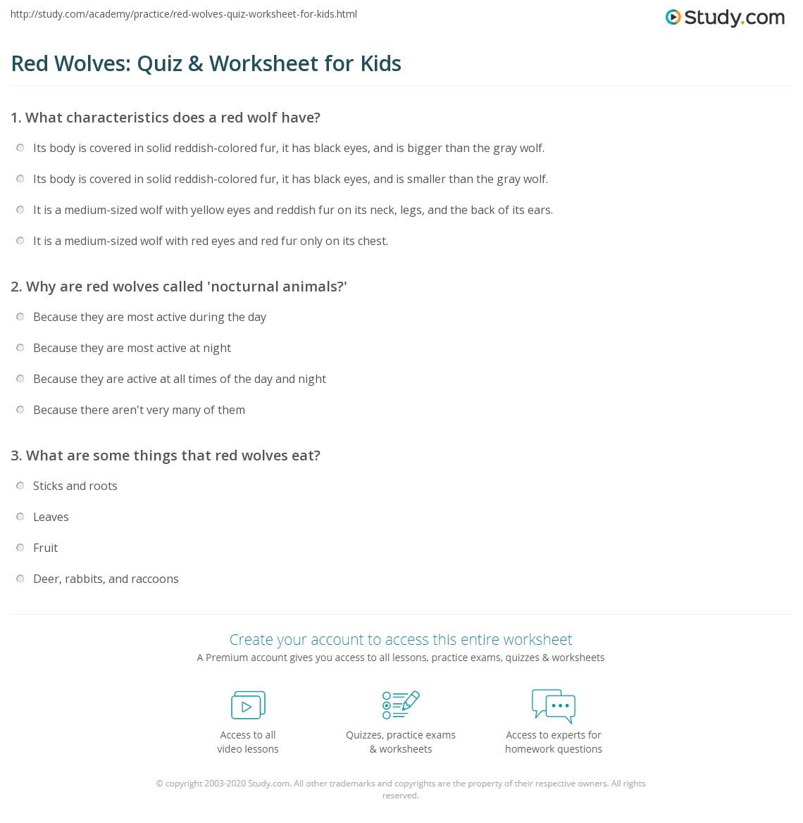 Red Wolves Quiz Amp Worksheet For Kids