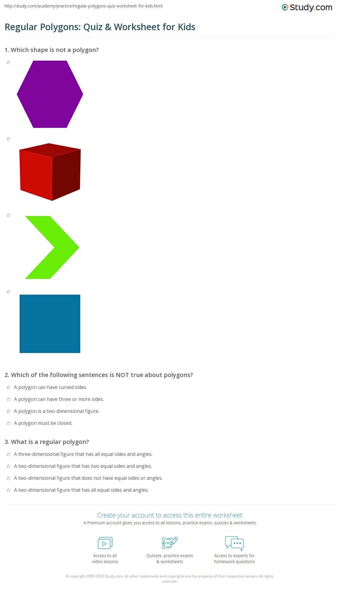 Regular Polygons Quiz Amp Worksheet For Kids