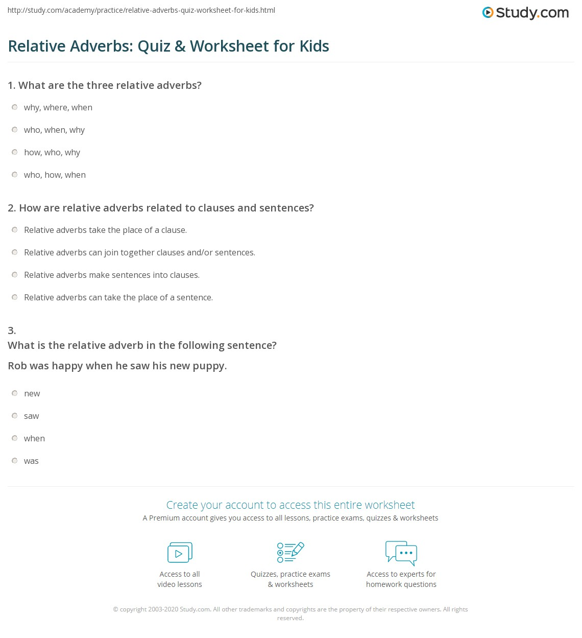 Relative Adverbs Quiz Amp Worksheet For Kids