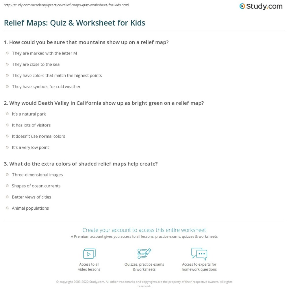 medium resolution of Relief Maps: Quiz \u0026 Worksheet for Kids   Study.com