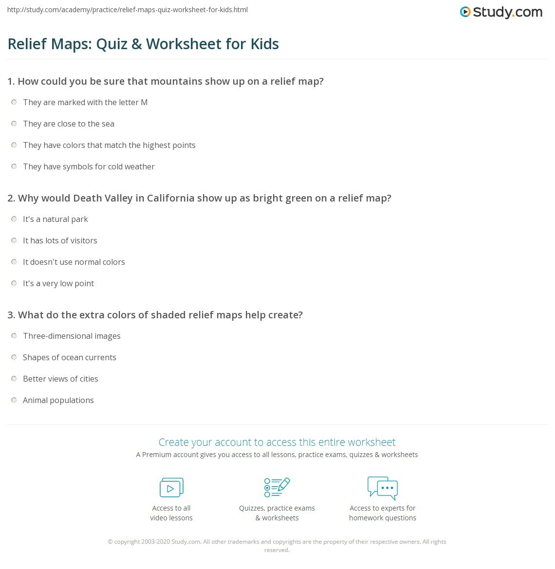 hight resolution of Relief Maps: Quiz \u0026 Worksheet for Kids   Study.com