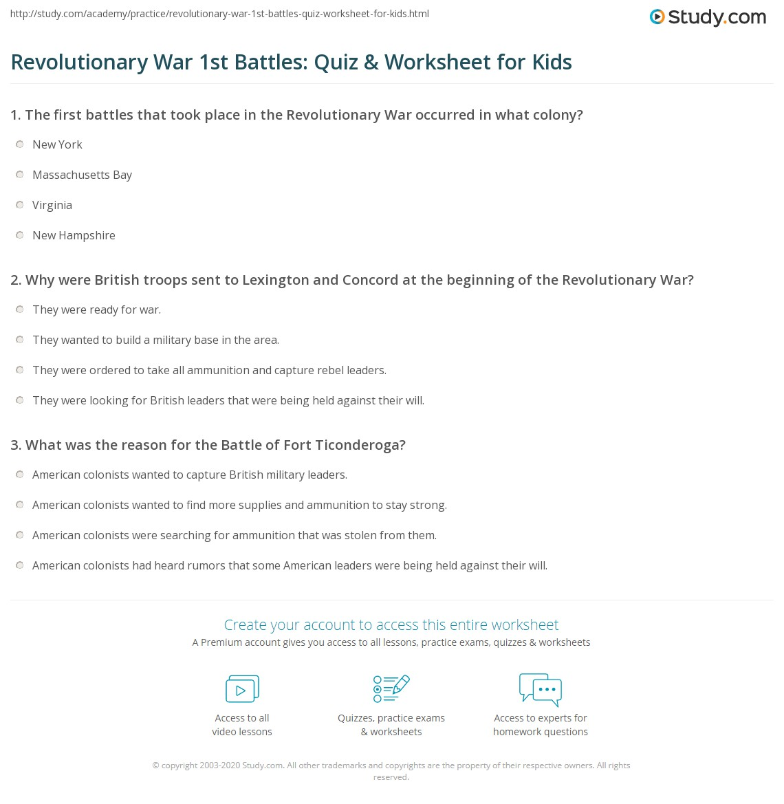 Revolutionary War 1st Battles Quiz Amp Worksheet For Kids