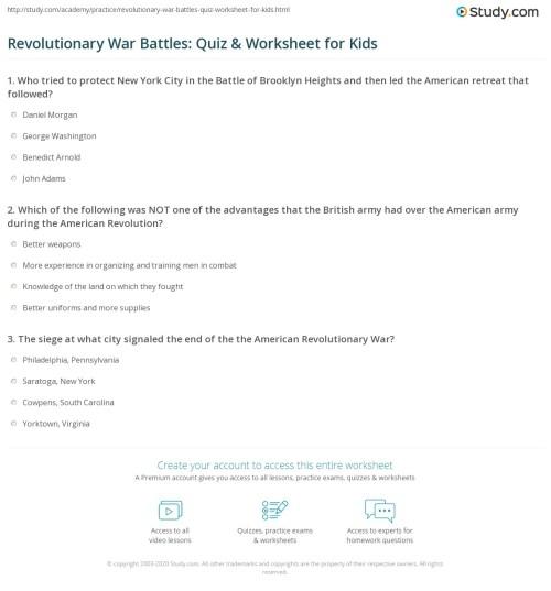 small resolution of American Revolution Battles Worksheet - Nidecmege