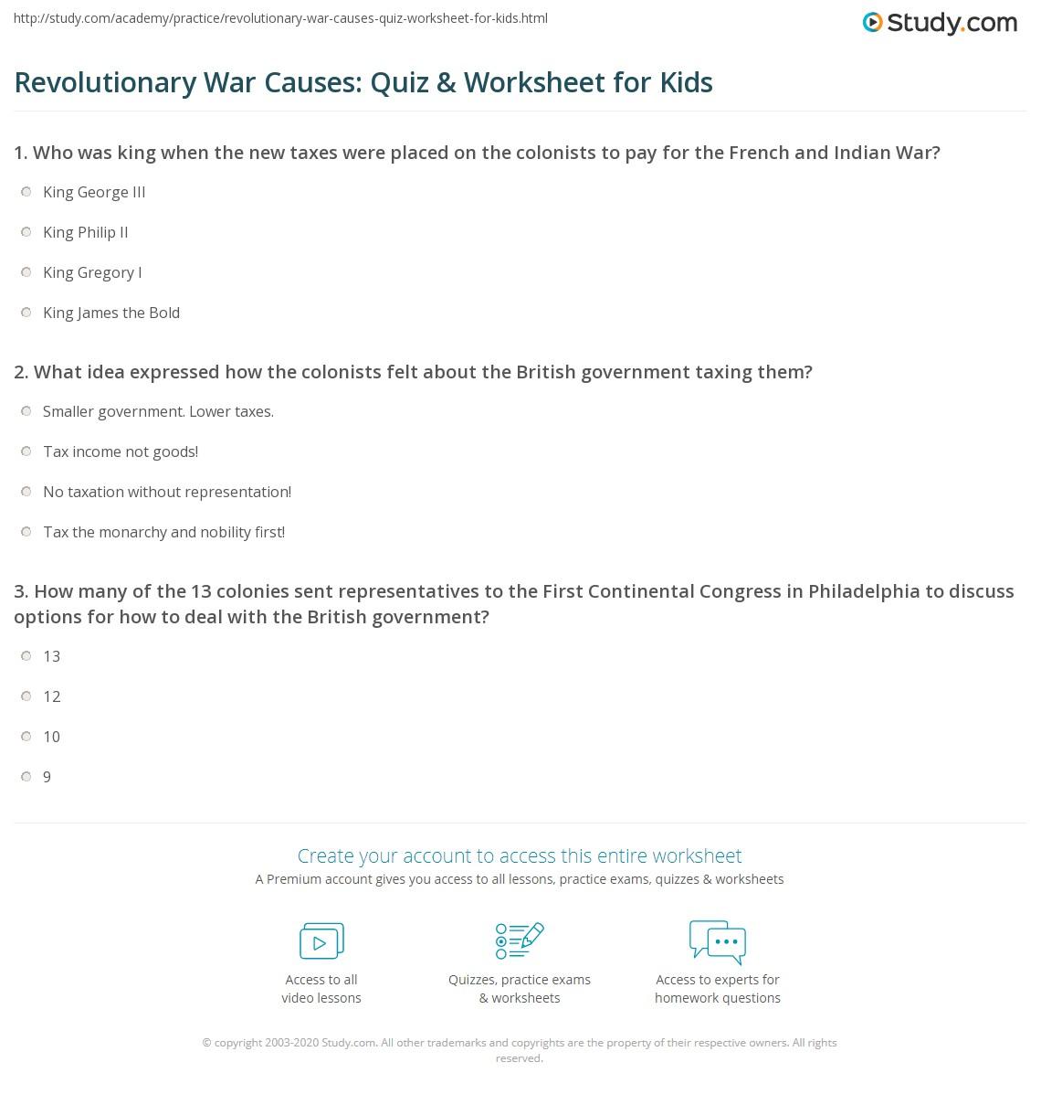 Revolutionary War Causes Quiz Amp Worksheet For Kids