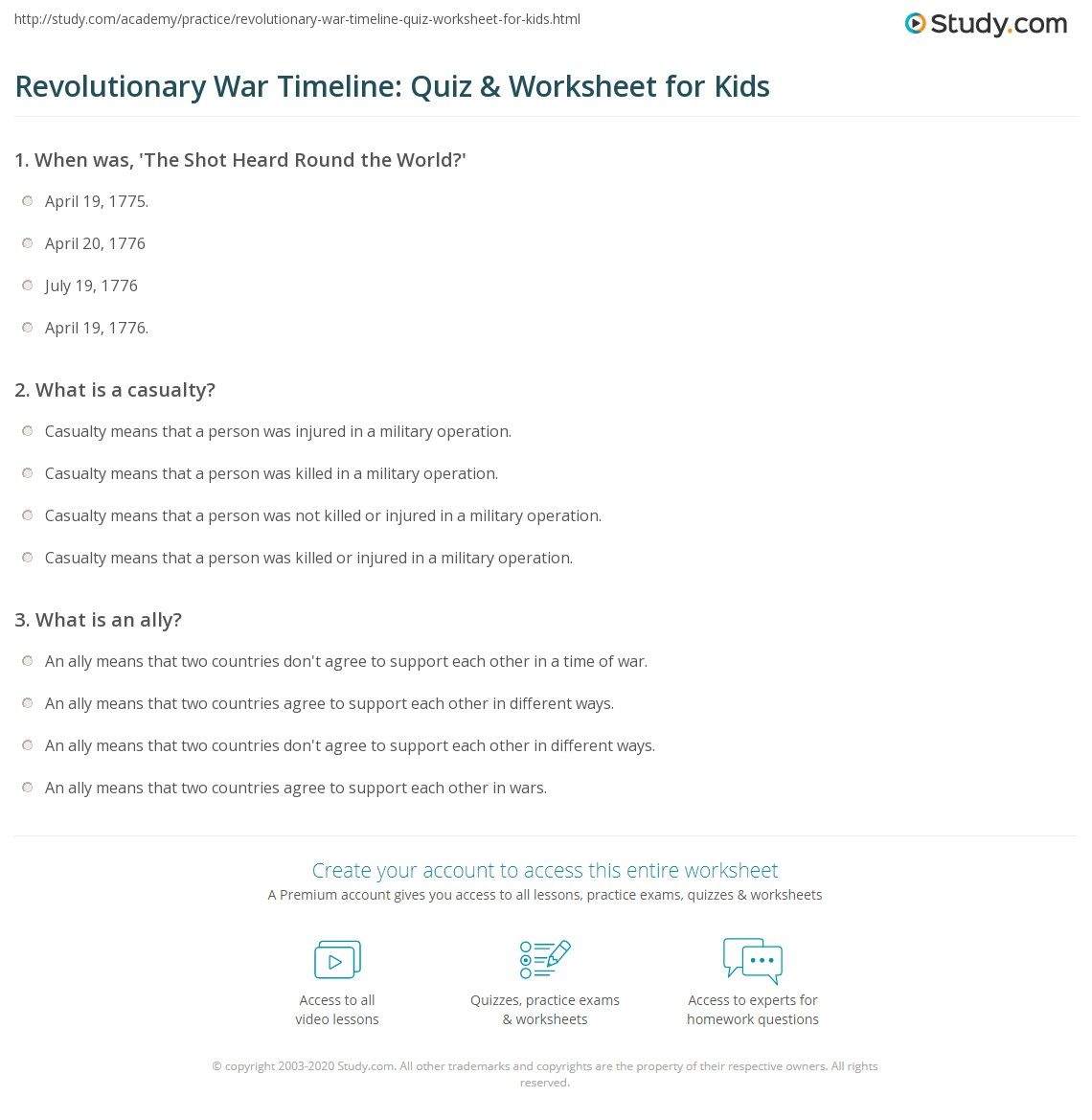 Revolutionary War Timeline Quiz Amp Worksheet For Kids