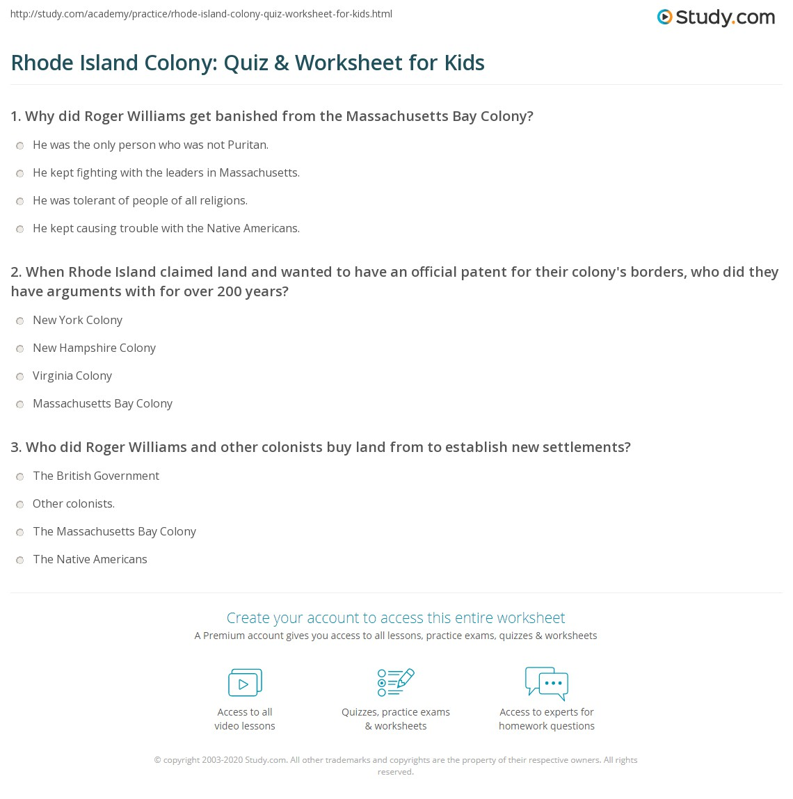 Rhode Island Colony Quiz Amp Worksheet For Kids
