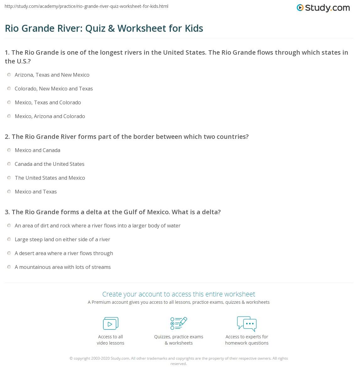 Rio Grande River Quiz Amp Worksheet For Kids