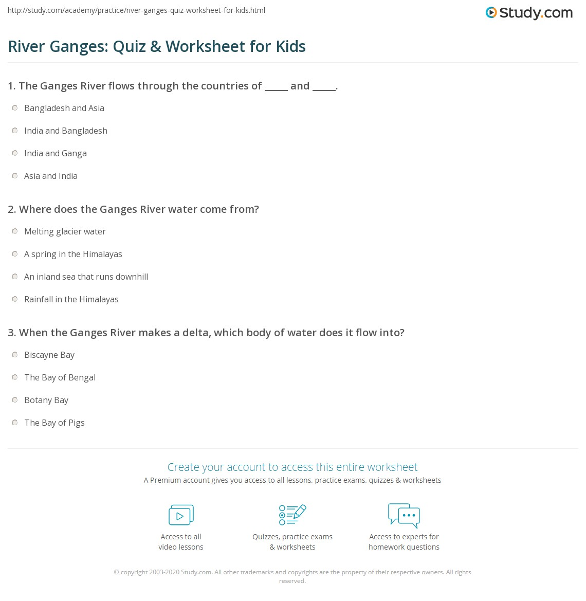 River Ganges Quiz Amp Worksheet For Kids