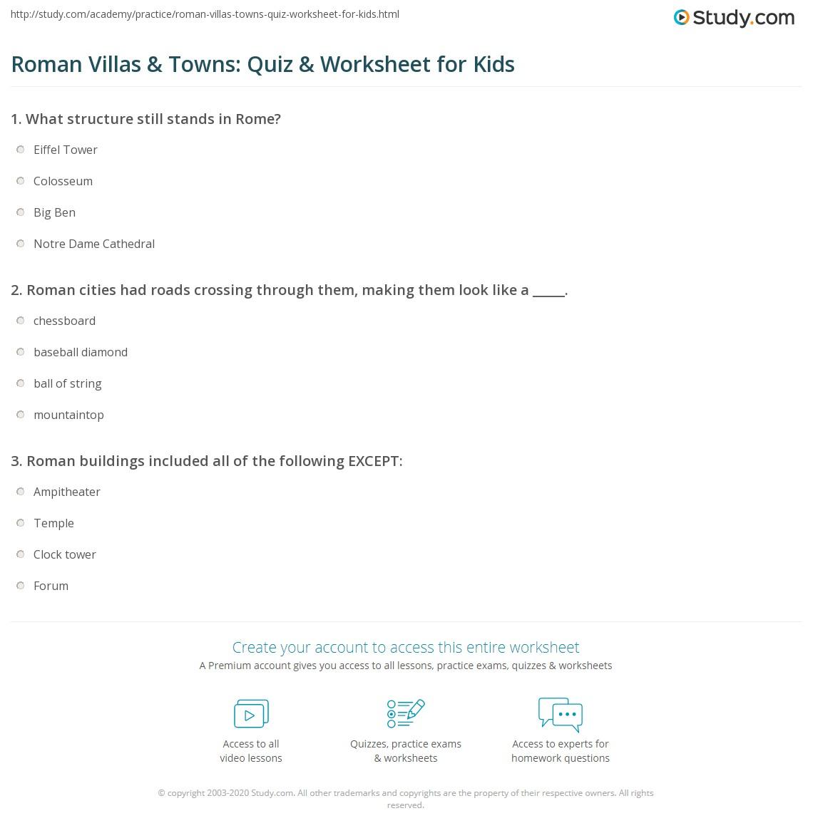 Roman Villas Amp Towns Quiz Amp Worksheet For Kids