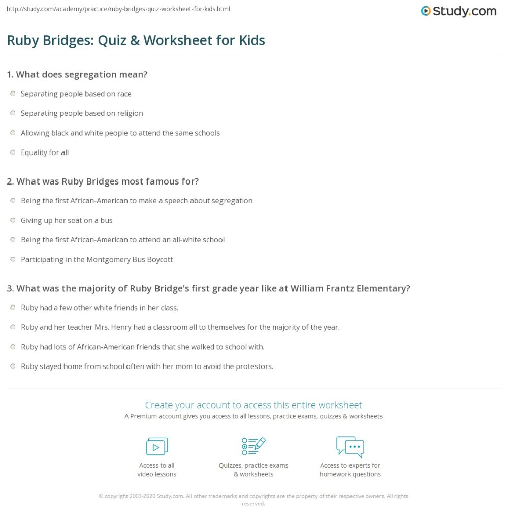 medium resolution of Ruby Bridges: Quiz \u0026 Worksheet for Kids   Study.com