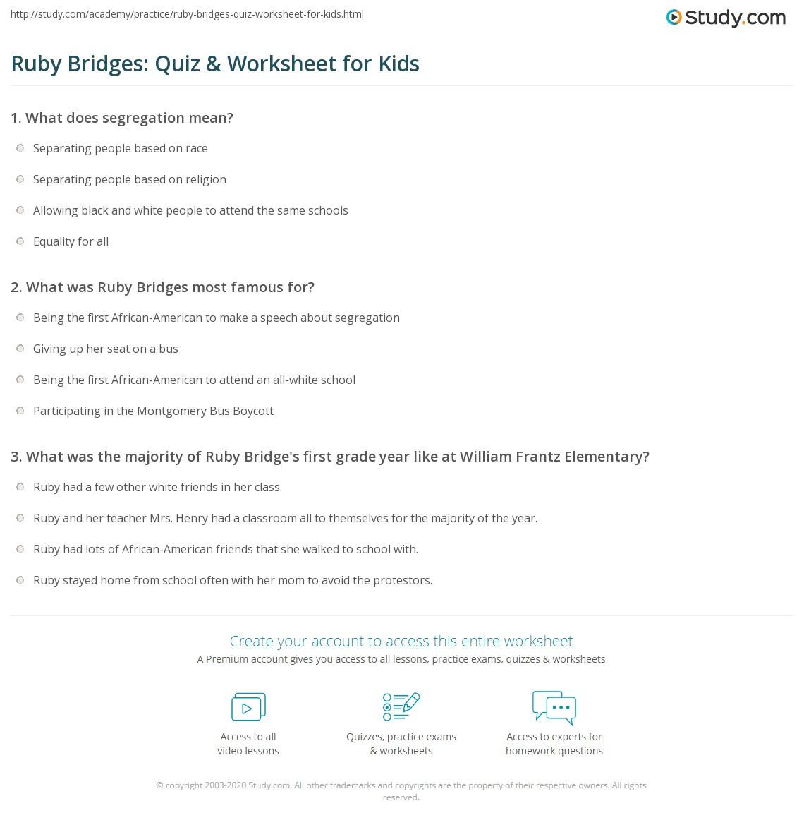 hight resolution of Ruby Bridges: Quiz \u0026 Worksheet for Kids   Study.com