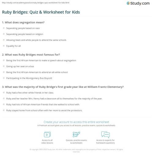 small resolution of Ruby Bridges: Quiz \u0026 Worksheet for Kids   Study.com