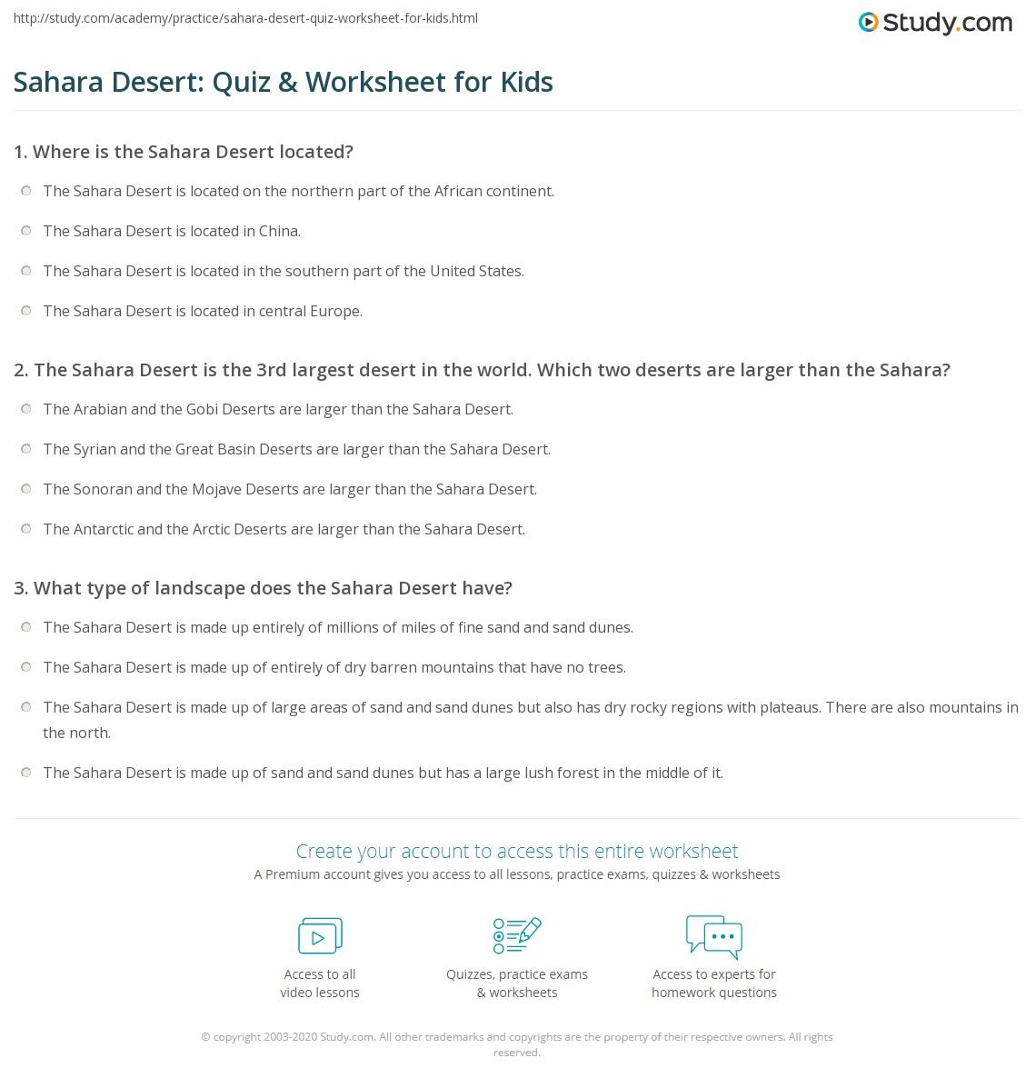 Sahara Desert Quiz Amp Worksheet For Kids