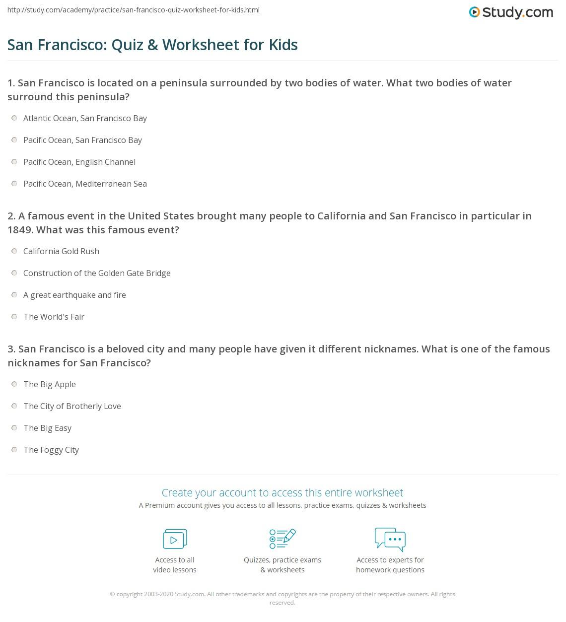 San Francisco Quiz Amp Worksheet For Kids