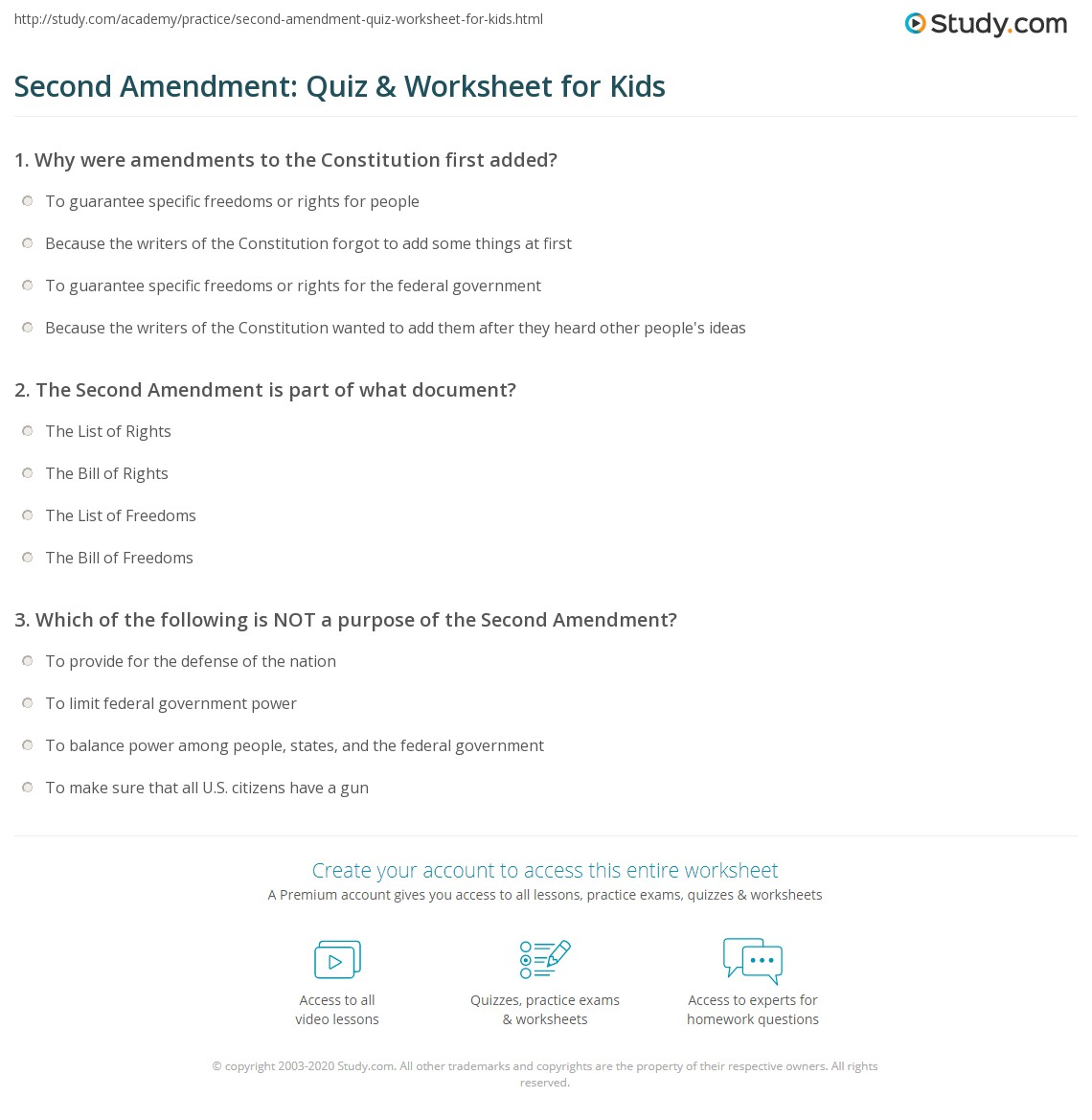 Second Amendment Quiz Amp Worksheet For Kids