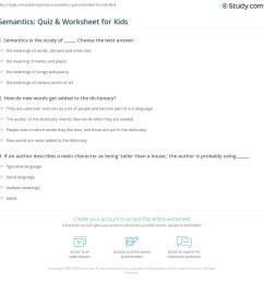 Semantics: Quiz \u0026 Worksheet for Kids   Study.com [ 1169 x 1140 Pixel ]