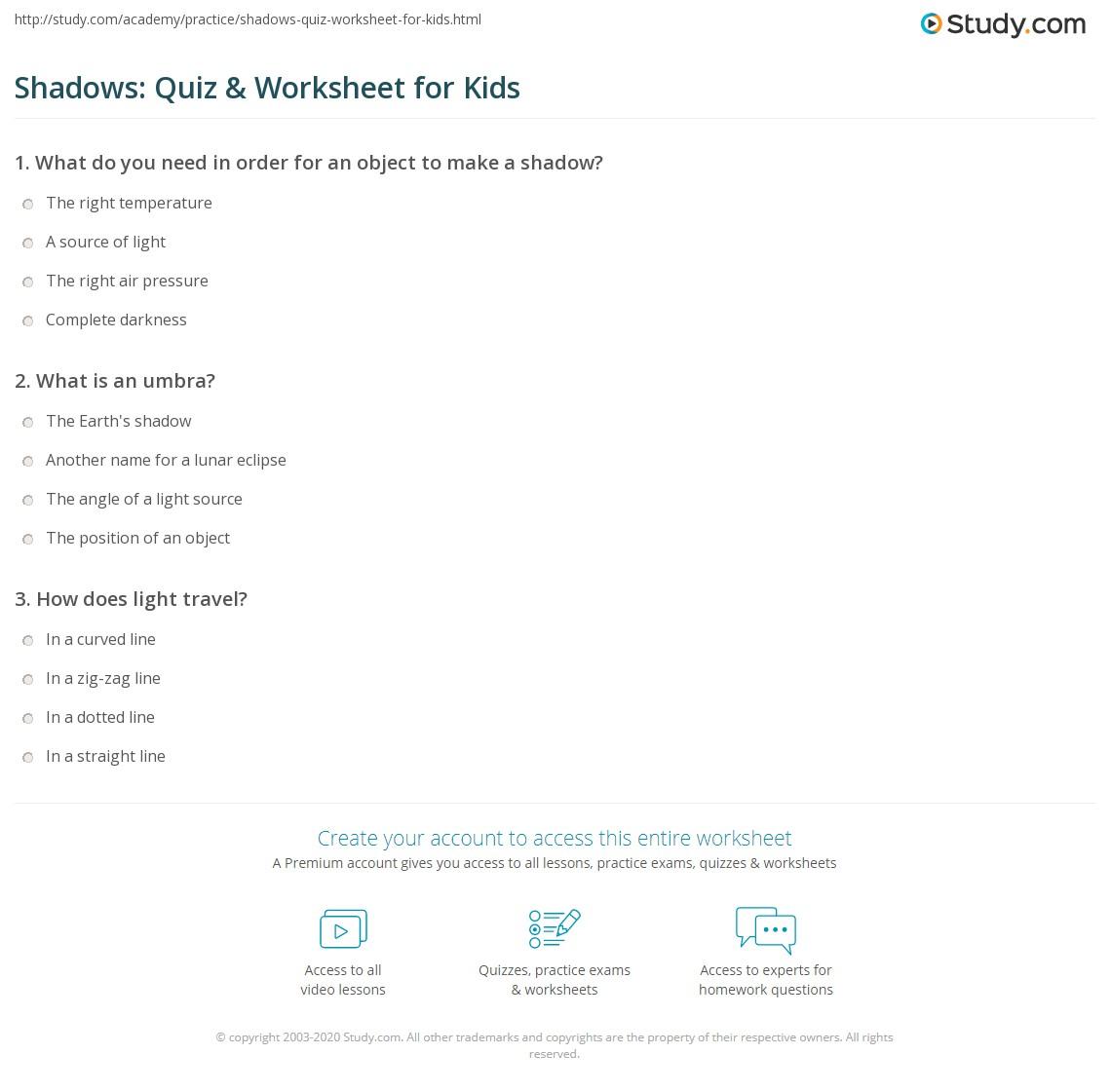 Shadows Quiz Amp Worksheet For Kids