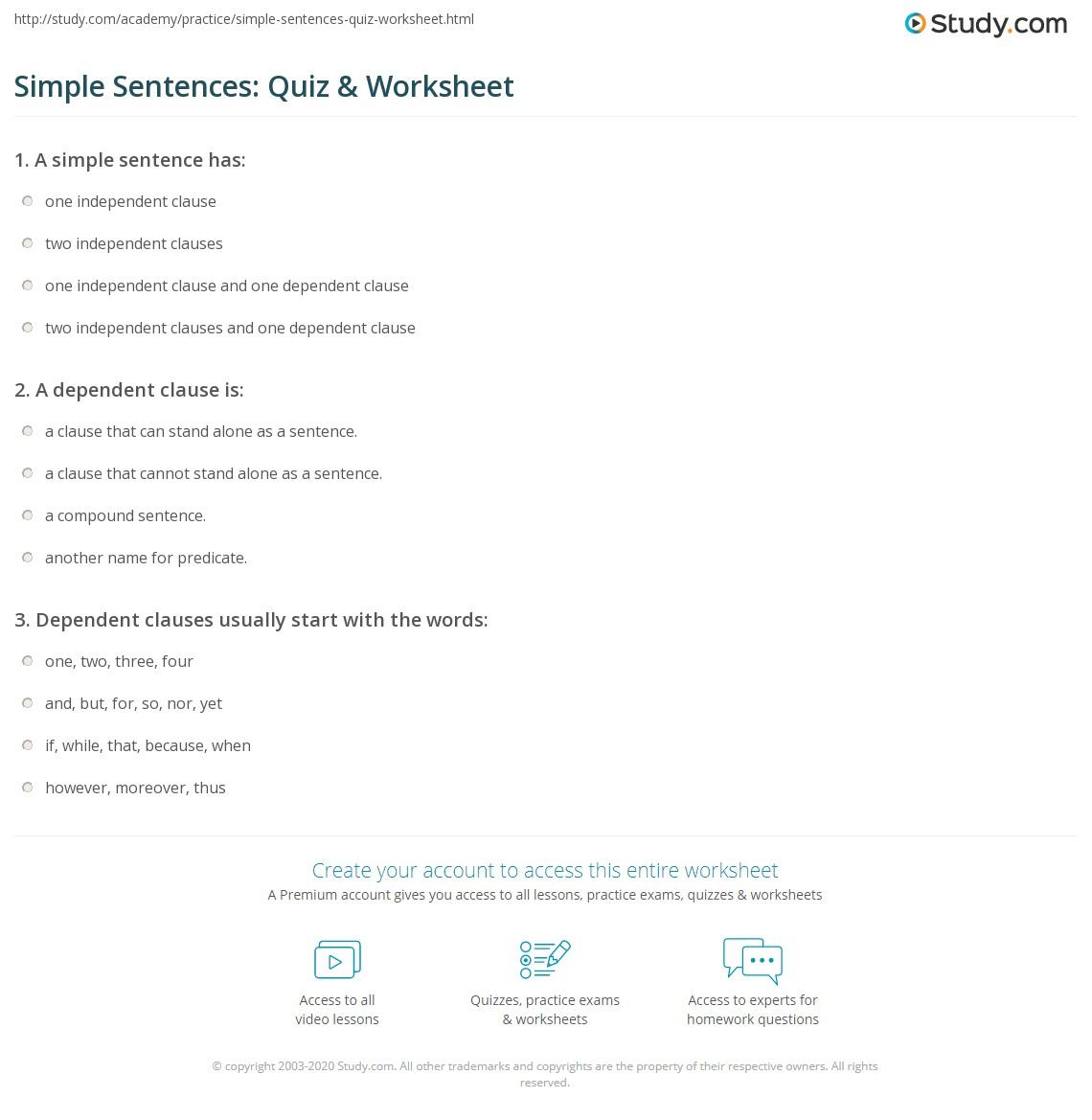 hight resolution of Simple Sentences: Quiz \u0026 Worksheet   Study.com