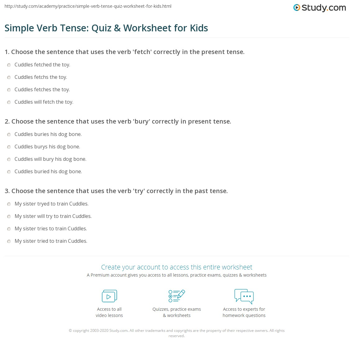 Simple Verb Tense Quiz Amp Worksheet For Kids