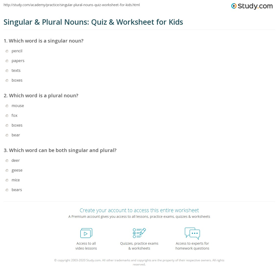 hight resolution of Singular \u0026 Plural Nouns: Quiz \u0026 Worksheet for Kids   Study.com