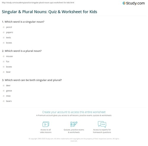small resolution of Singular \u0026 Plural Nouns: Quiz \u0026 Worksheet for Kids   Study.com