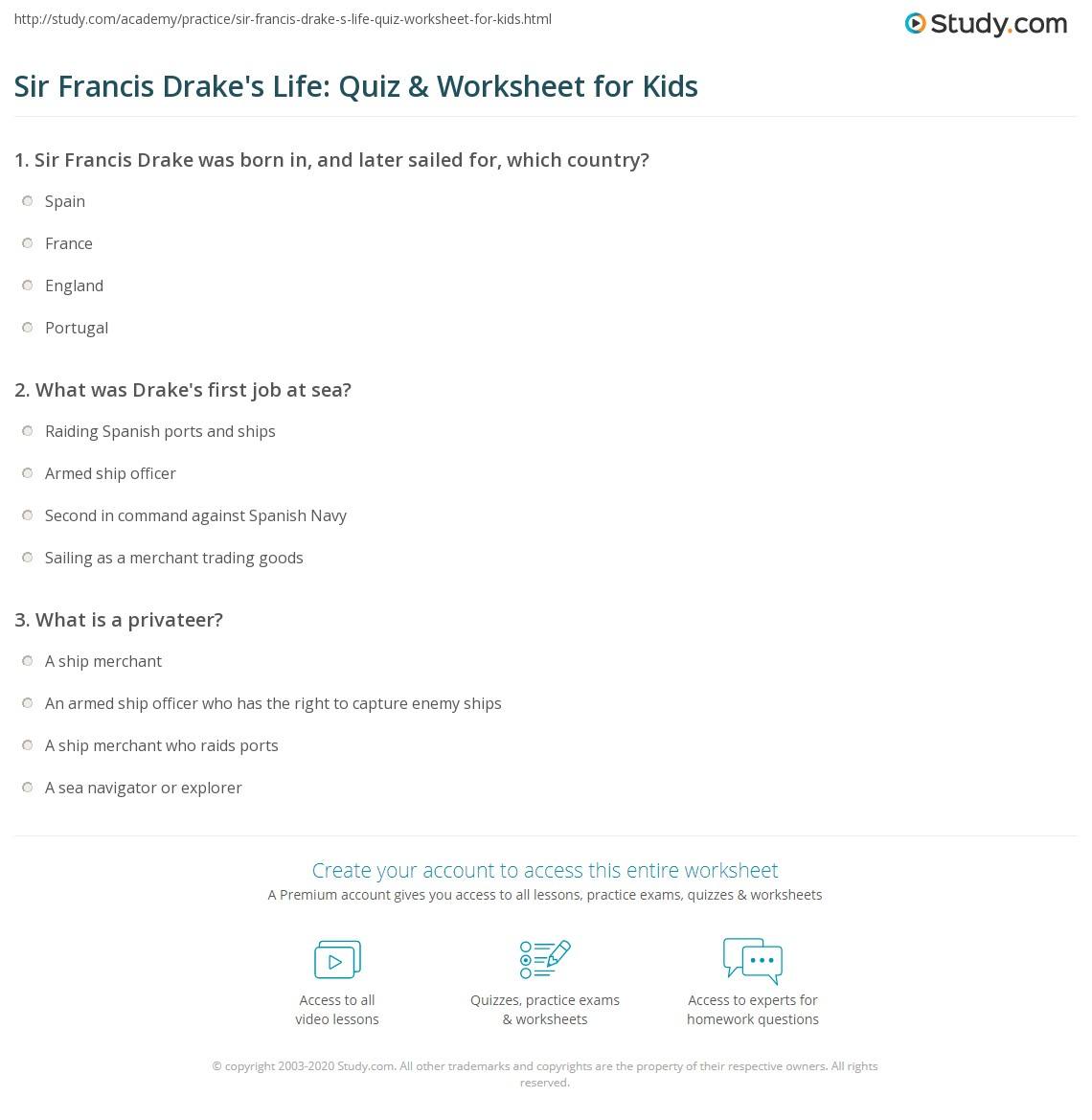 Sir Francis Drake S Life Quiz Amp Worksheet For Kids