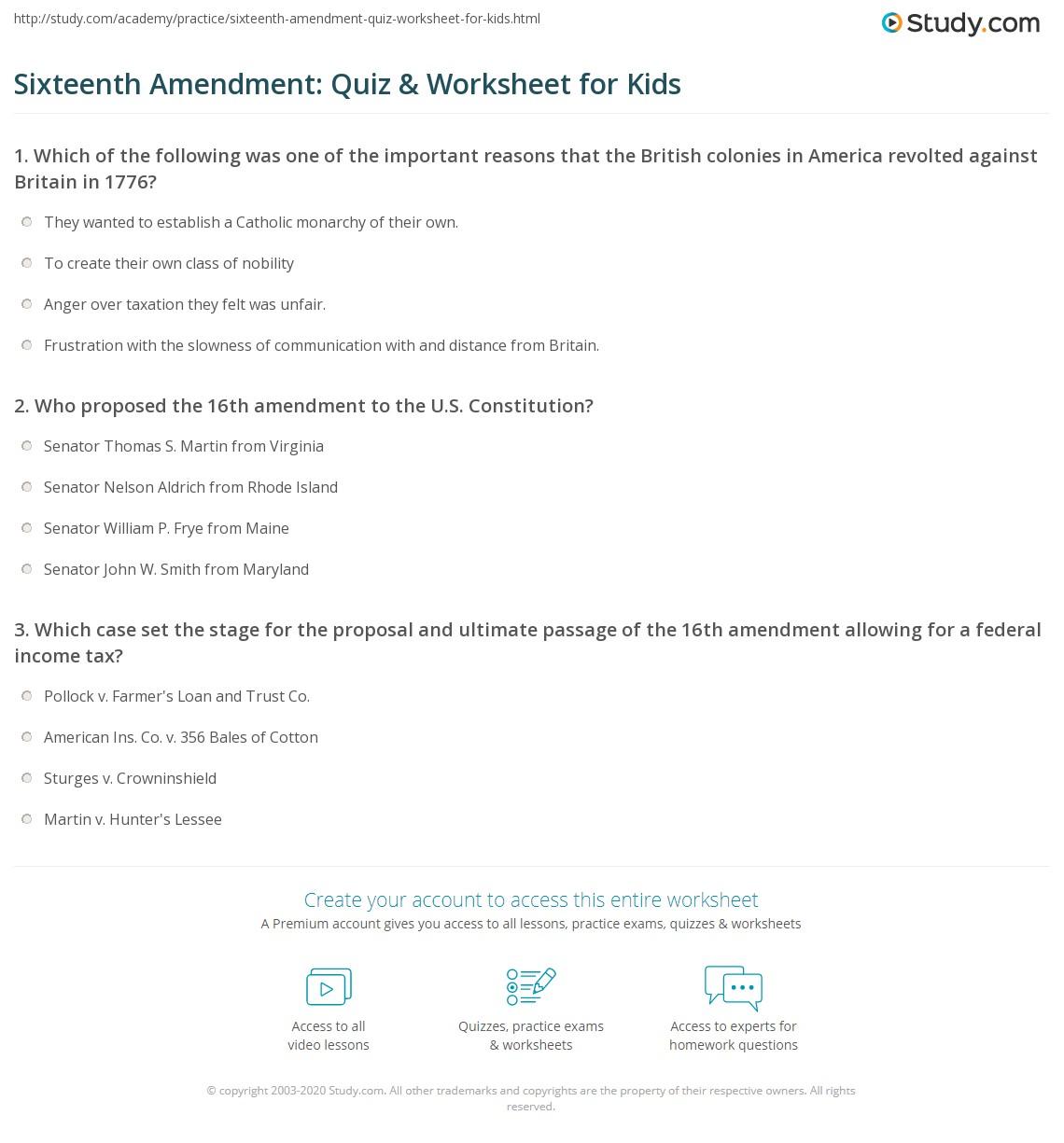 Sixteenth Amendment Quiz Amp Worksheet For Kids
