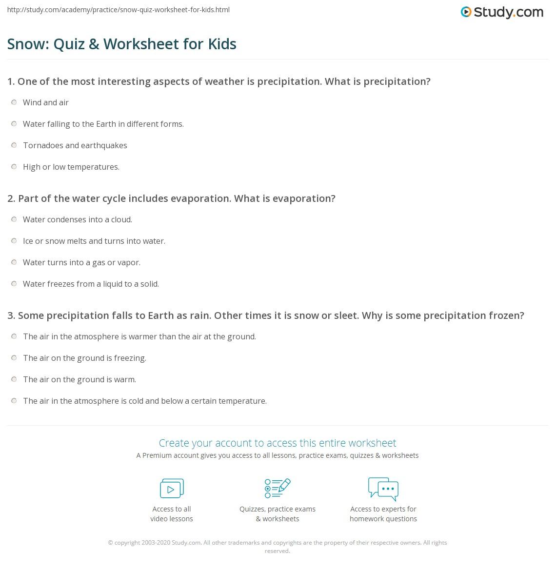 Snow Quiz Amp Worksheet For Kids