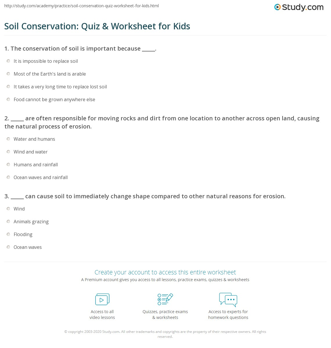Soil Conservation Quiz Amp Worksheet For Kids