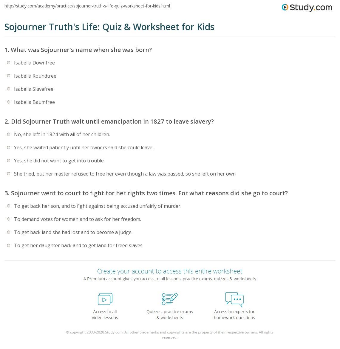 Sojourner Truth S Life Quiz Amp Worksheet For Kids