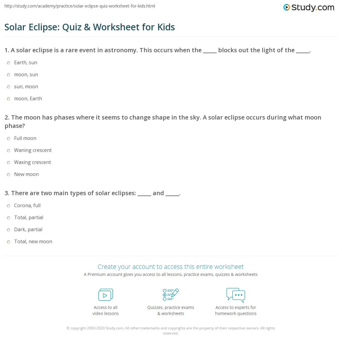 hight resolution of Solar Eclipse: Quiz \u0026 Worksheet for Kids   Study.com