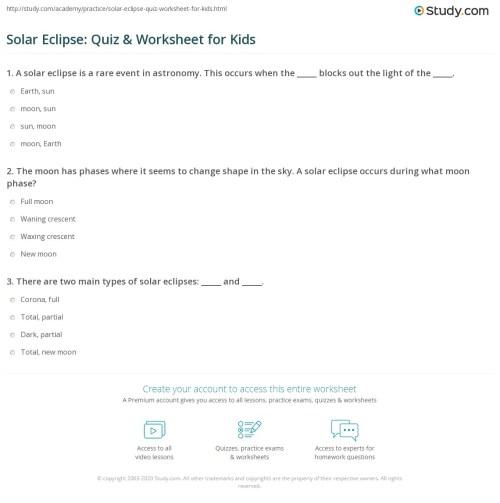 small resolution of Solar Eclipse: Quiz \u0026 Worksheet for Kids   Study.com