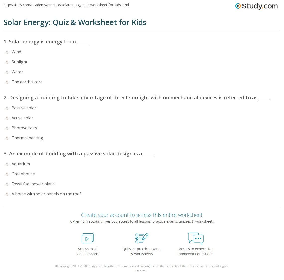 Solar Energy Quiz Amp Worksheet For Kids