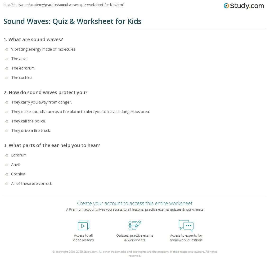 Sound Waves Quiz Amp Worksheet For Kids