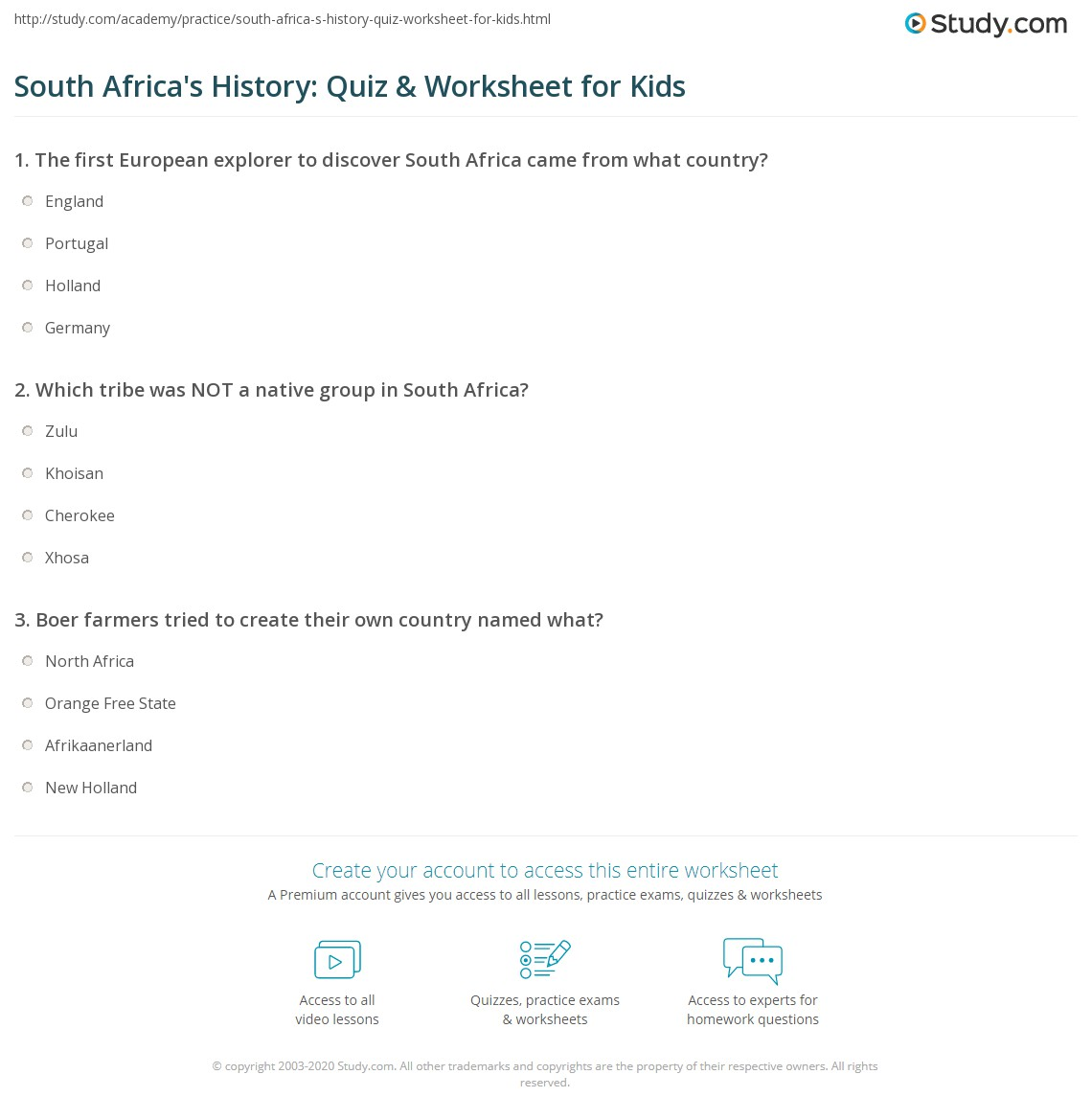 hight resolution of South Africa's History: Quiz \u0026 Worksheet for Kids   Study.com
