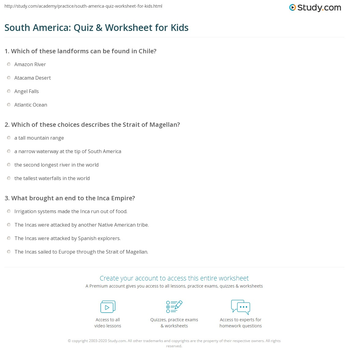 South America Quiz Amp Worksheet For Kids