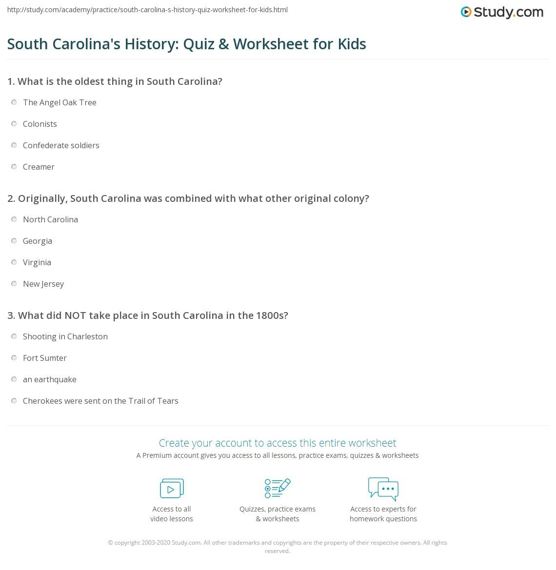 South Carolina S History Quiz Amp Worksheet For Kids