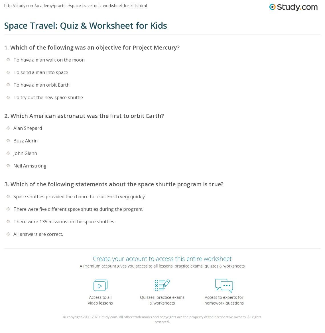 Space Travel Quiz Amp Worksheet For Kids