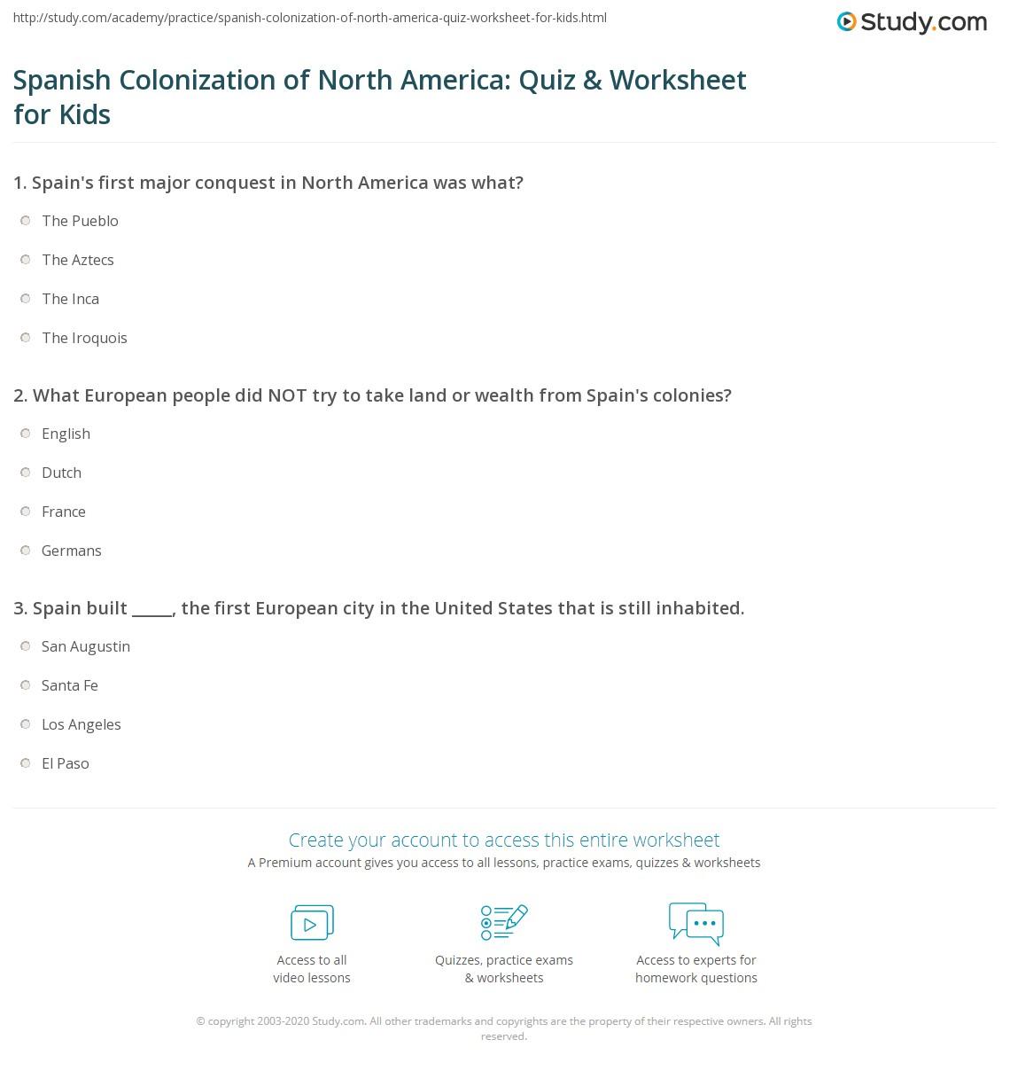Spanish Colonization Of North America Quiz Amp Worksheet