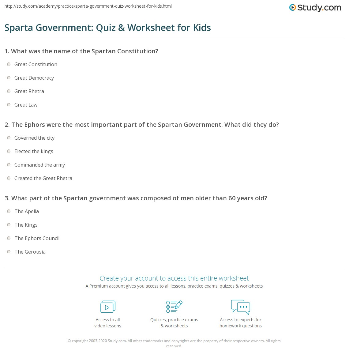 Sparta Government Quiz Amp Worksheet For Kids