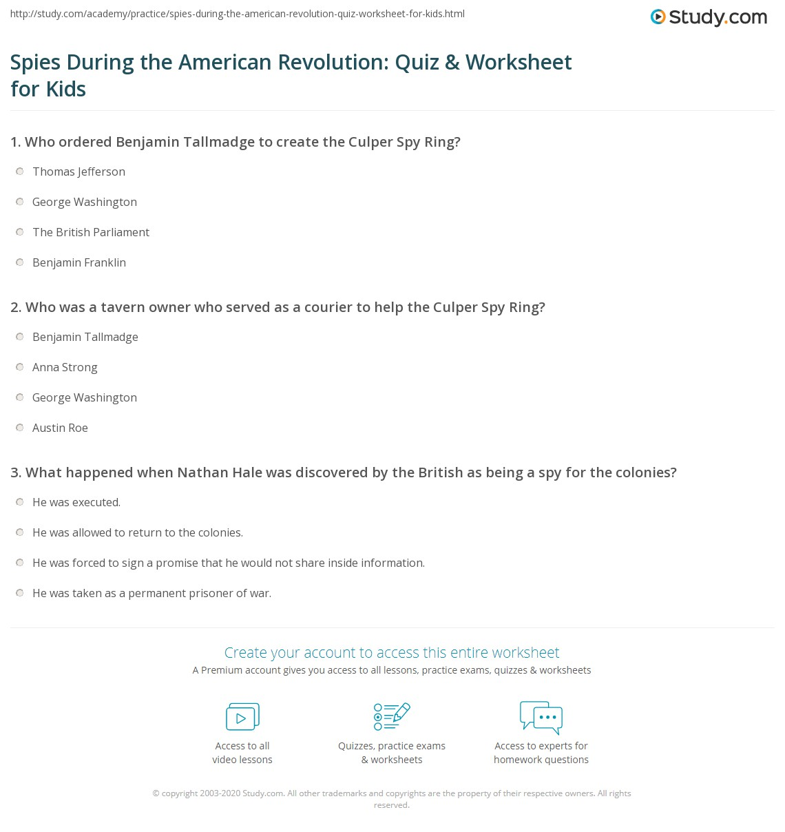Spies During The American Revolution Quiz Amp Worksheet For