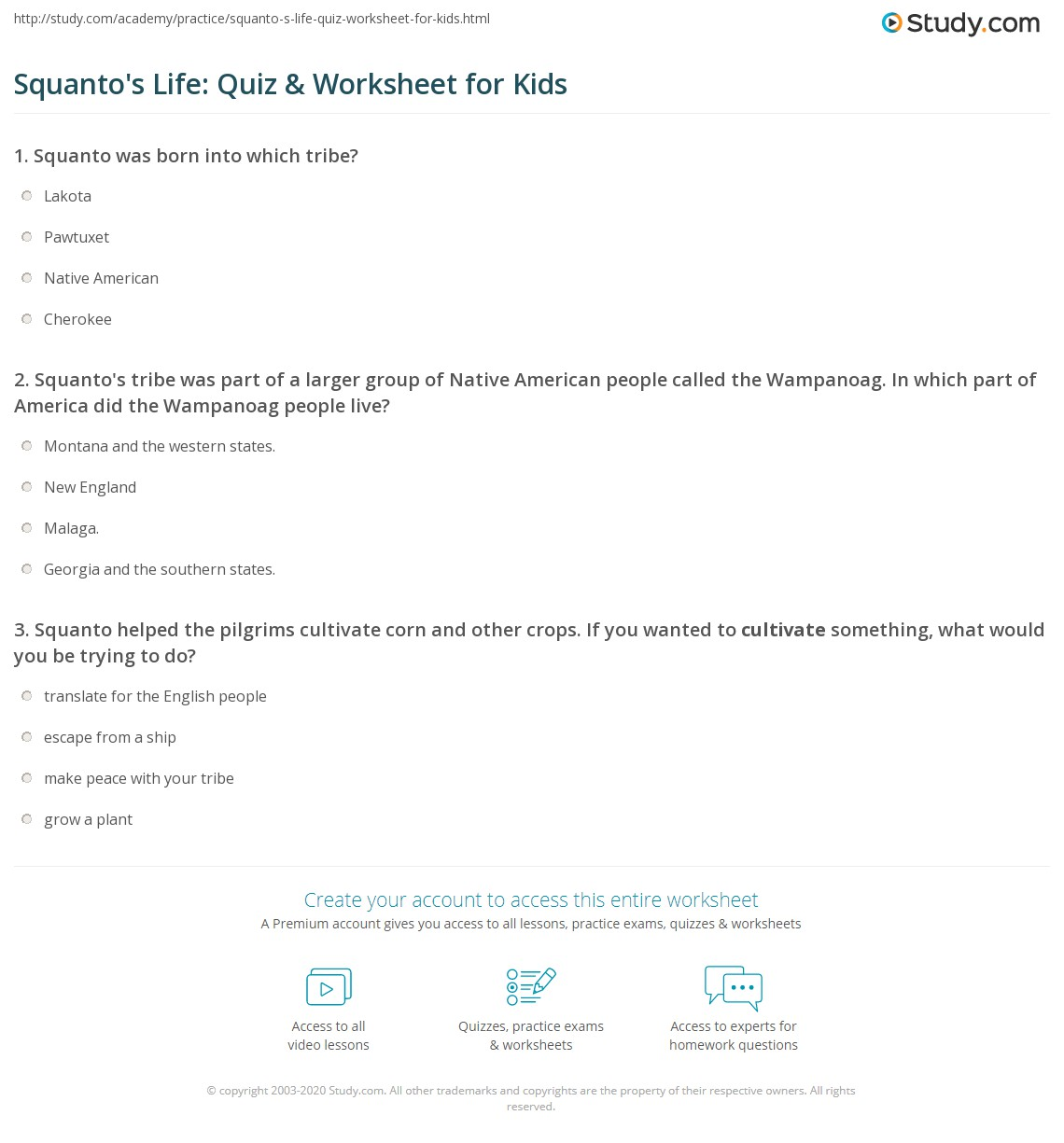 Squanto S Life Quiz Amp Worksheet For Kids
