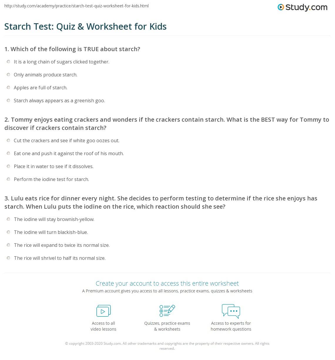 Starch Test Quiz Amp Worksheet For Kids