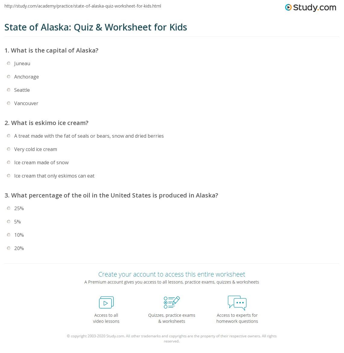 State Of Alaska Quiz Amp Worksheet For Kids