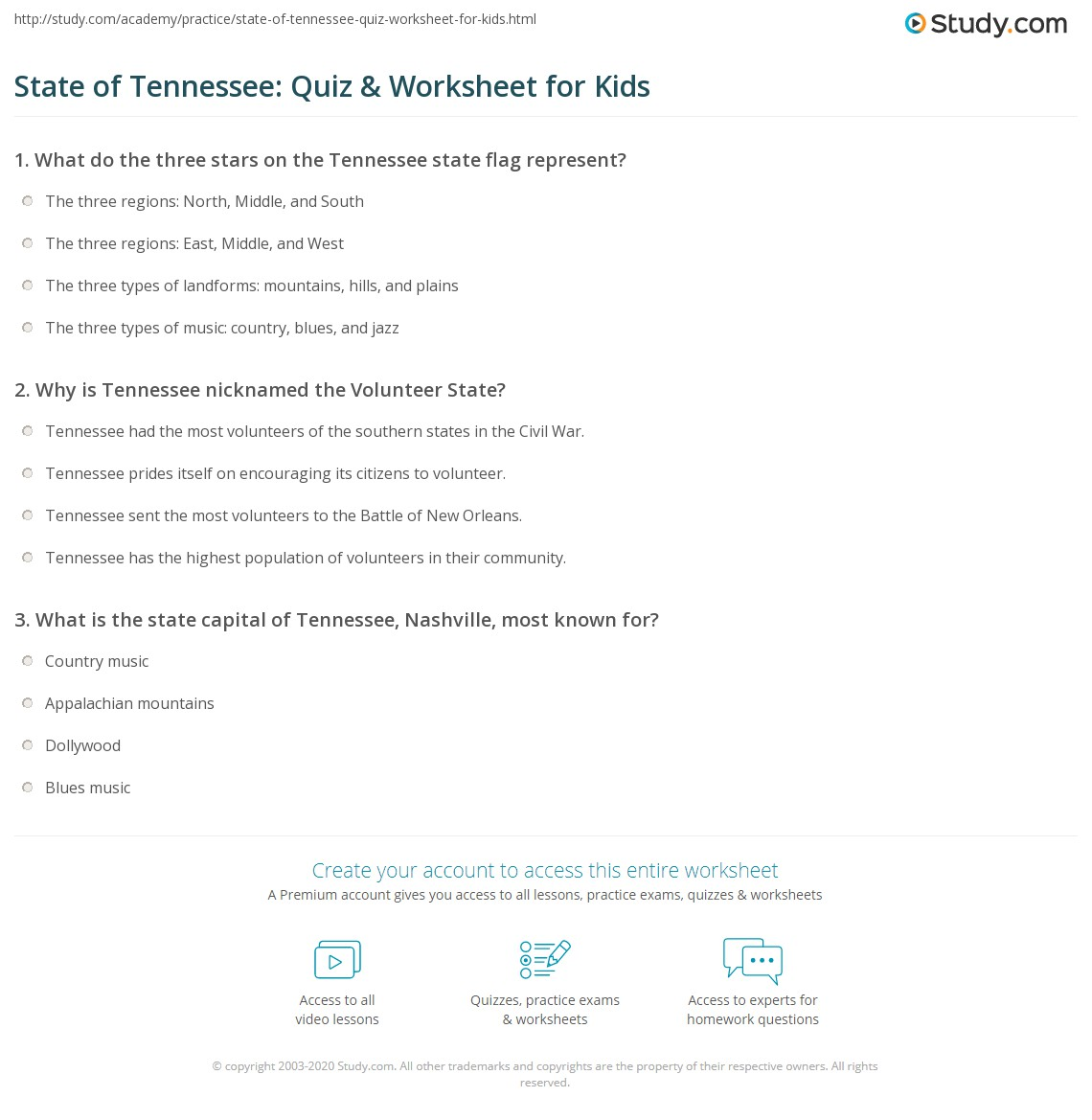 State Of Tennessee Quiz Amp Worksheet For Kids