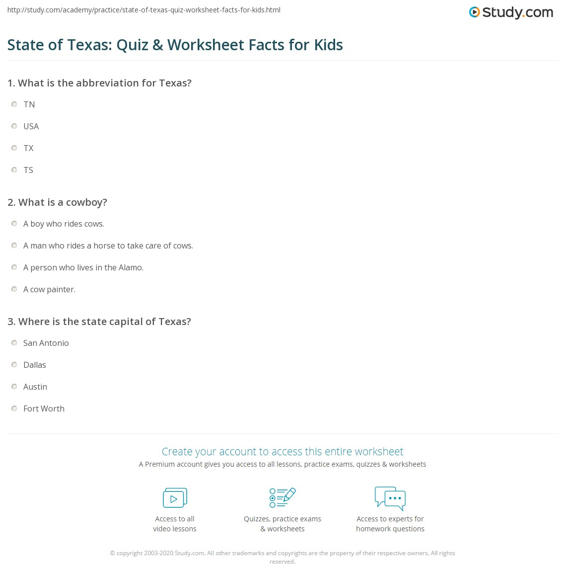 State Of Texas Quiz Amp Worksheet Facts For Kids